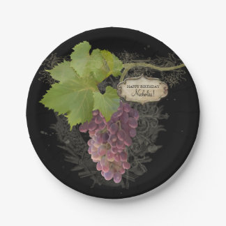 Happy Birthday Party Wine Grapes Vineyard Theme Paper Plate