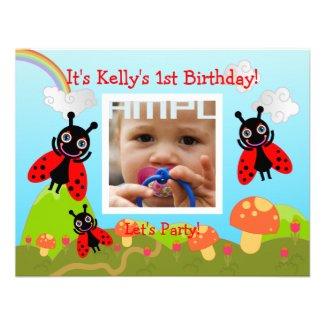 Happy Birthday Party with ladybug Custom Invite