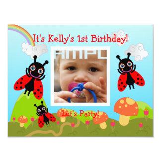 "Happy Birthday Party with ladybug 4.25"" X 5.5"" Invitation Card"