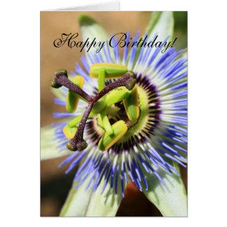 Happy Birthday Passion Flower Greeting Card