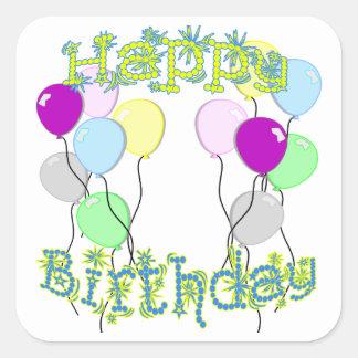 Happy Birthday - Pastel D6 Square Sticker
