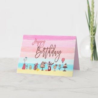 Happy Birthday/pastel stripes/cake/flowers/girly Card