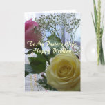 """Happy Birthday Pastor's Wife-  Roses Card<br><div class=""""desc"""">Roses and Baby's Breath Greet Pastor's Wife with Happy Birthday Wishes.  Scripture and Verse inside relate Blessings.</div>"""