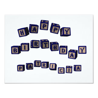 Happy Birthday Patricia toy blocks in blue. Card