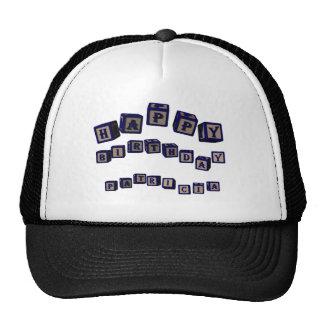 Happy Birthday Patricia toy blocks in blue. Trucker Hat