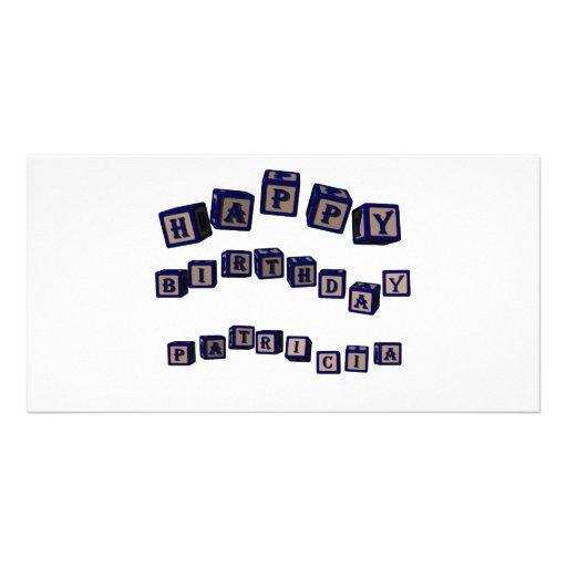 Happy Birthday Patricia toy blocks in blue. Custom Photo Card