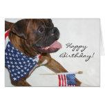 Happy Birthday Patriotic Boxer Dog greeting card