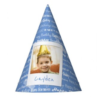 Happy Birthday Pattern Blue Party Kids Photo Cute Party Hat