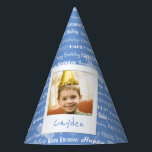 """Happy Birthday Pattern Blue Party Kids Photo Cute Party Hat<br><div class=""""desc"""">Happy Birthday Pattern Blue Party Kids Photo Personalized Birthday Party Paper Hats. Pattern of white script &quot;Happy Birthday&quot; repeated in on a light blue background. Customize to change background to another color. Fun photo frame design appears to be taped to hat. Name of child written on white underneath photo. Replace...</div>"""