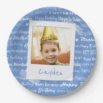 Happy Birthday Pattern Blue Party Kids Photo Fun Paper Plate