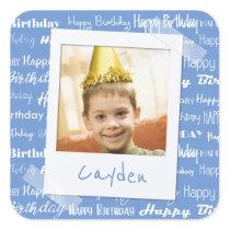 Happy Birthday Pattern Blue Party Kids Photo Square Sticker