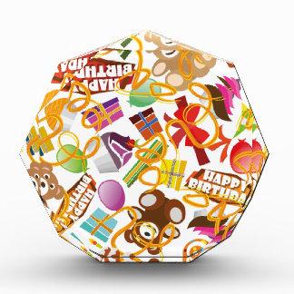 Happy Birthday Pattern Illustration Acrylic Award