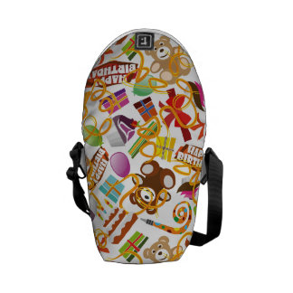 Happy Birthday Pattern Illustration Courier Bag