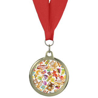 Happy Birthday Pattern Illustration Medal