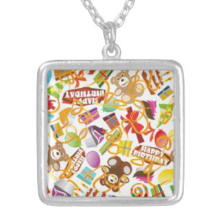 Happy Birthday Pattern Illustration Silver Plated Necklace