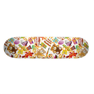 Happy Birthday Pattern Illustration Skateboard Deck
