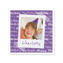 Happy Birthday Pattern Purple Party Kids Photo Paper Napkin