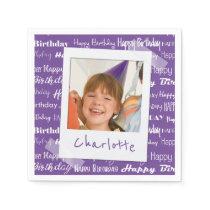 Happy Birthday Pattern Purple Party Kids Photo Paper Napkins