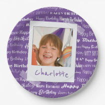 Happy Birthday Pattern Purple Party Kids Photo Paper Plate