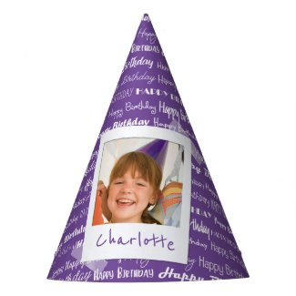 Happy Birthday Pattern Purple Party Kids Photo Party Hat