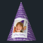 "Happy Birthday Pattern Purple Party Kids Photo Party Hat<br><div class=""desc"">Happy Birthday Pattern Purple Party Kids Photo Personalized Birthday Party Paper Hats. Pattern of white script &quot;Happy Birthday&quot; repeated in on a pretty purple background. Customize to change background to another color. Fun photo frame design appears to be taped to hat. Name of child written on white underneath photo. Replace...</div>"