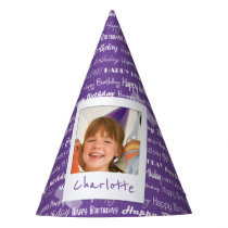 Happy Birthday Pattern Purple Party Kids Photo Party Hat