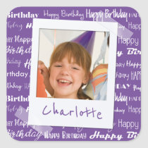 Happy Birthday Pattern Purple Party Kids Photo Square Sticker