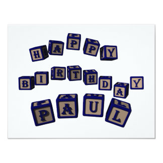 Happy Birthday Paul toy blocks in blue. Card