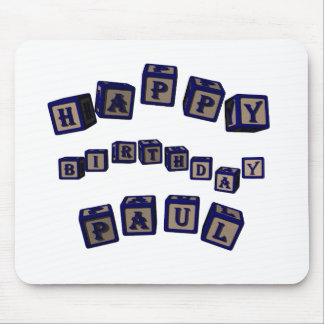 Happy Birthday Paul toy blocks in blue. Mouse Pad