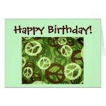 Happy Birthday!-Peace Signs/Camo Design Card