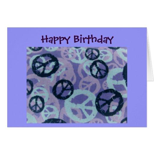Happy Birthday-Peace Signs/Camo Look-Card