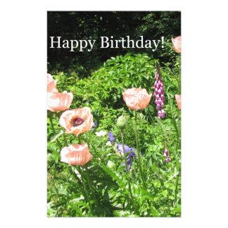 Happy Birthday Peach Poppy Garden Stationery
