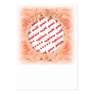 Happy Birthday Peach Roses  Photo Frame Large Business Cards (Pack Of 100)
