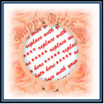 Happy Birthday Peach Roses  Photo Frame Cut Outs