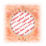 Happy Birthday Peach Roses  Photo Frame Photo Cut Outs