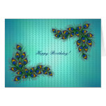Happy Birthday ! - peacock feather frame Greeting Cards