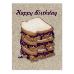 Happy Birthday Peanut Butter and Jelly Sandwiches Postcard