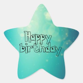 Happy birthday pegatina en forma de estrella