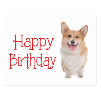 Happy Birthday Pembroke Corgi Puppy Dog  Postcard