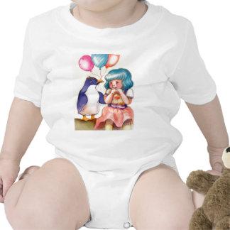 Happy Birthday Penguin and Girl Baby Creeper