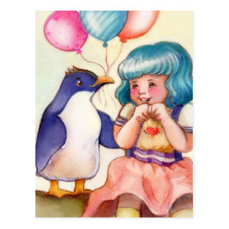 Happy Birthday Penguin and Girl Postcard