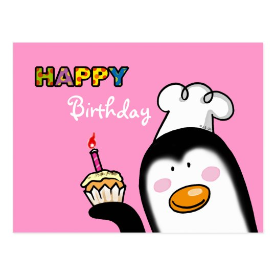 Happy Birthday penguin cupcake Postcard