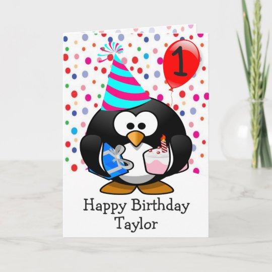 Happy Birthday Penguin Kids 1 Year Old Card Zazzle