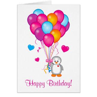 Happy Birthday: Penguin with Heart-Shaped Balloons Card