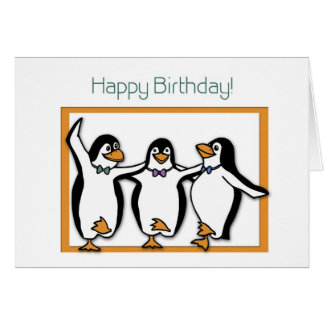 Happy Birthday Penguins Card