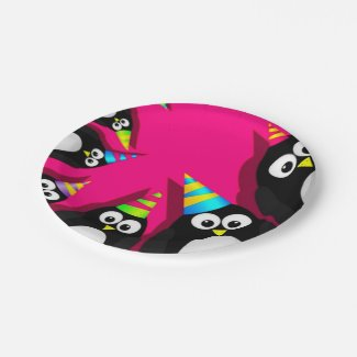 Happy Birthday Penguins Paper Plates 7 Inch Paper Plate