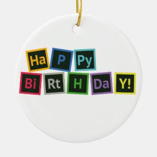 Happy Birthday Periodic Ceramic Ornament