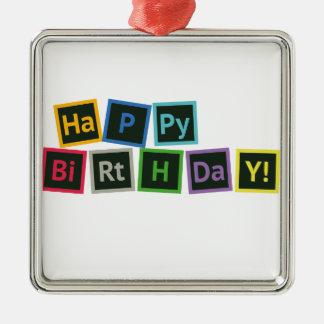 Happy Birthday Periodic Metal Ornament