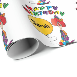 Happy Birthday Personalize Clown Wrapping Paper