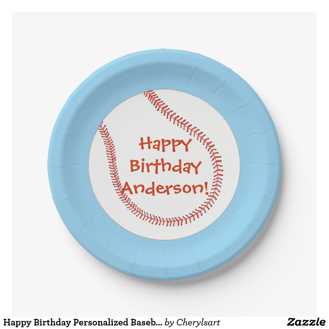 Happy Birthday Personalized Baseball Plates